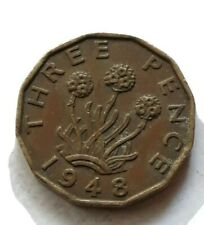 VINTAGE 1948 GREAT BRITAIN UK ENGLAND 3 THREE PENCE COIN
