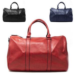 Borsone da Palestra Viaggio in Pelle Grande per Uomo Donna Lavoro Nero Blu Rosso