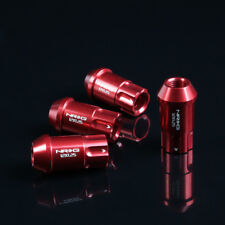 NRG ALUMINUM OPEN END TUNER WHEEL RIM LUG NUTS 6 POINT LOCK M12x1.25 RED 4 PC