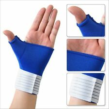 Blue Neoprene Hand Wrist Palm Thumb Adjustable Support Glove Bandage Brace Gym