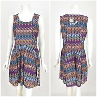 Womens Desigual Fit & Flare Dress Multicolor Summer Sleeveless 30V2175 Size L
