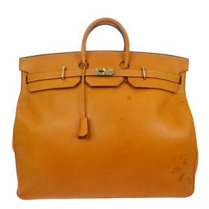 HERMES HAUT A COURROIES 55 Travel Hand Bag ◯J Gold Vache leather 83552
