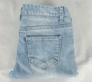 Miss Shop Size 6 Jeans Flare Boot Leg Stretch Light Blue Denim Neatly Taken Up