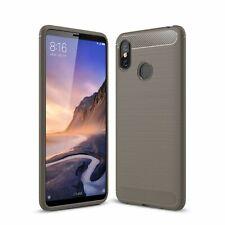 Xiaomi Mi Max 3 TPU Case Carbon Fiber Optik Brushed Schutz Hülle Cover Grau
