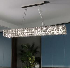 Postmodern restaurant long chandelier stainless steel light luxury crystal lamp