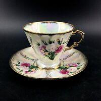 Vintage Pandora Products Japan Lusterware Footed Teacup Set Roses Gold Trim