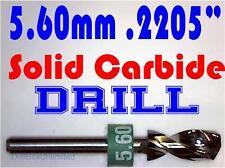 ".2205"" 5.60mm  -Solid Carbide Drill Bit - 1/8"" Shank -Sharp! CNC Hobby Model -lu"