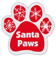 Red Dog Paw Shaped Magnets: SANTA PAWS (Christmas, Santa Claws, Holiday)   Dogs