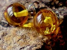 STERLING SILVER 8mm. BALL STUD EARRINGS with AMBER CABOCHON STONES £12.50  NWT