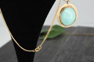Vintage 14k & 10k Yellow Gold Cabochon Turquoise Pendant Women's Necklace