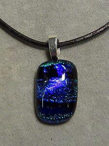 blue green necklace, pendant, stripes sparkle, dichroic glass #252