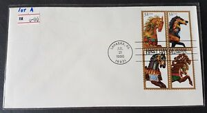 USA 1995 Carousel Horse Stamp FDC lot A (official issue)mild toned 美国木马首日封(轻微斑点)