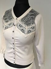 Karen Millen Very Pretty Lace Cream/blush Cardigan Medium 12-14UK