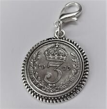 1920s Solid silver threepence coin bracelet charm ready to hang