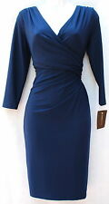Ralph Lauren blue stretch elegant dress occasion or work surplice neck sz 12P