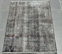 Gray Vintage Handmade Wool Rug Anatolian Overdyed Turkish Wool Carpet 2x3 ft.