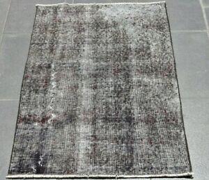 Gray Vintage Handmade Wool Rug Anatolian Overdyed Turkish Wool Carpet 2x3 ft.