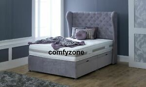 SIDE OPENING OTTOMAN DIVAN BED, WINGED HEADBOARD, DOUBLE, 6FT SUPER KING SIZE