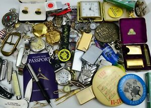Junk Drawer Lot Vintage to Now Collectibles Estate Lighters Watches Knives +++
