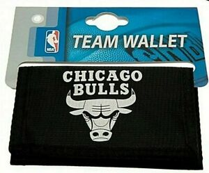 Chicago NBA Basketball Chicago Bulls Black Nylon Trifold Foil Print Wallet