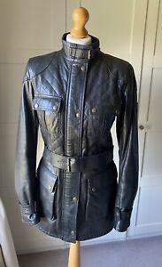 "Ladies Belstaff ""Cat"" black Leather Jacket With Receipt size 12"