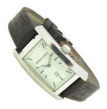 ARMANI Herren Armband Uhr Leder Datum Edelstahl AR-0100 5ATM Batterie neu s075