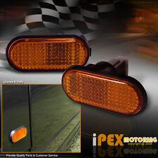 Pair Of JDM Flat Style Amber Side Marker Turn Signal Fender Lights W/Wiring+Bulb