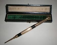 Antique Vtg Edward Todd & Co Gold Pens New York Leather Box w/ eversharp PENCIL