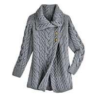Aran Woolen Mill Women's Merino Wool Sweater Jacket - Wrap Front Shawl Collar