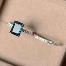 2.90 Ct Genuine Diamond Engagement Ring 14K White Gold Topaz Band Set Size 6 7 8