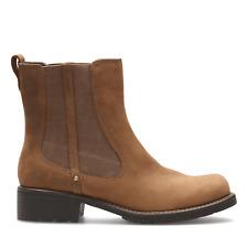 BNIB Clarks Ladies Orinoco Club Brown Snuff Leather Chelsea Boots