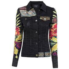 Desigual Damen Jeansjacke Jacke mit Strickärmeln Stonewashed Destroyed Effekten
