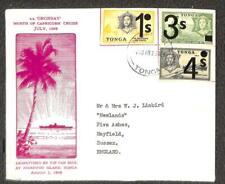 TONGA SCOTT #218 220-21 STAMPS TO ENGLAND ORONSAY SHIP TIN CAN CANOE MAIL 1969