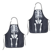 2pcs Halloween Adult Skeleton Printing Apron Funny Kitchen Aprons  Party Cooking