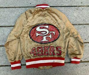 Kid's VTG 80s San Francisco 49ers Gold Nylon Satin NFL Football Jacket Size 6-8