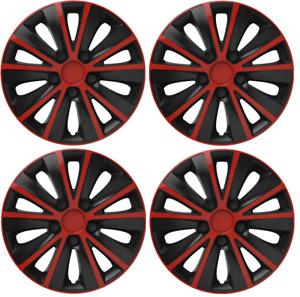 "SUZUKI SX4 FULL SET OF 4 HUB CAPS COVERS 15"" INCH WHEEL TRIMS COVER BLACK RED"