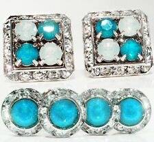 Corner White & Blue Opal Cufflinks & Studs Tuxedo Set Made W/Swarovski Crystals