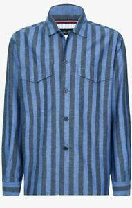 Tommy Hilfiger Officer Striped Cotton Linen Blend Shirt XL BNWT