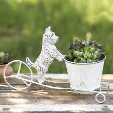 "Scottie Dog Painted Cast Iron & Metal Planter - 11"" W x 7"" H Outdoor Patio Pets"