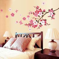 3D Room Peach Blossom Flower Butterfly Wall Stickers Vinyl Art Home Decor Mural