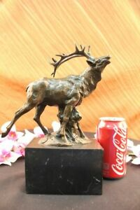 Handcrafted bronze sculpture SALE Stag Forest In Deer Male Signed Original Decor