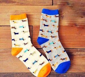 Dachshund Sausage Dog Weiner Teckel Ladies' Socks Blue or Orange BN