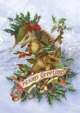Mr. Hedgely's Yuletide Coat YULE Card Briar Hedgehog Holly Solstice Greetings