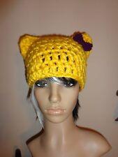 Kitty CAT ears YELLOW hat purple bow emo crochet yarn rave cosplay handmade