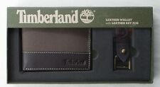 Timberland Men's Wallet Canvas Leather Key Fob Gift Set Dark Brown Bilfold New