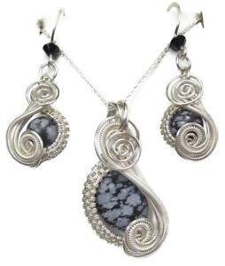 Snowflake Obsidian & Swarovski Crystal Earrings/Necklace Set in Sterling Silver