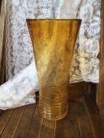 Large Art Glass Hand Blown Amber VASE W/ LOTS of AIR BUBBLES Art Studio