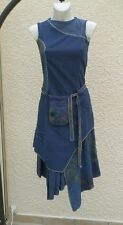 Robe Sans Manches Asymètrique Bleu Fleurs Vert Mauve Noir Renatto Bene Taille 36
