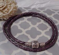 Pandora Authentic Purple Leather Double Wrap Cord Charm Bracelet 16 in. Retired