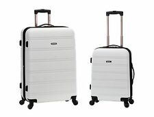 """20"""", 28"""" 2 Piece Expandable Spinner Hard Luggage Set ABS - White"""